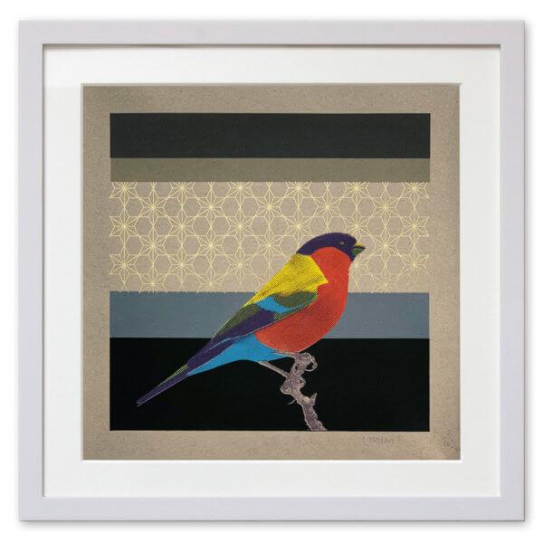 Qunstwerk - Siebdruck gerahmt | Paradiesvogel - Siebdruck auf Papier