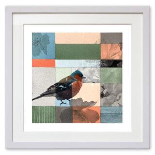 Qunstwerk - Malerei gerahmt | Buchfink - Acryl, Transfer und Tusche auf Papier