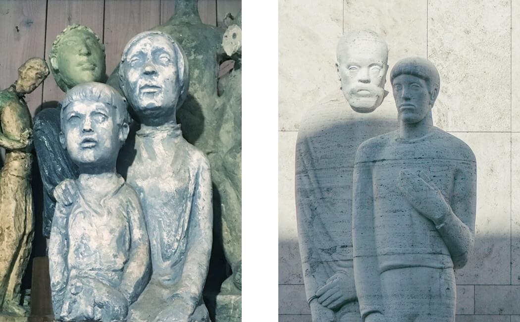 «Mutter und Sohn» in Zschokkes Atelier und die Monumentalplastik «Lehrer und Schüler» an der Universität Basel
