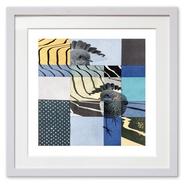 Qunstwerk - Malerei gerahmt | Blauvogel - Acryl, Transfer und Tusche auf Papier