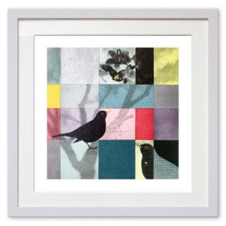 Qunstwerk - Malerei gerahmt | Amsel - Acryl, Transfer und Tusche auf Papier